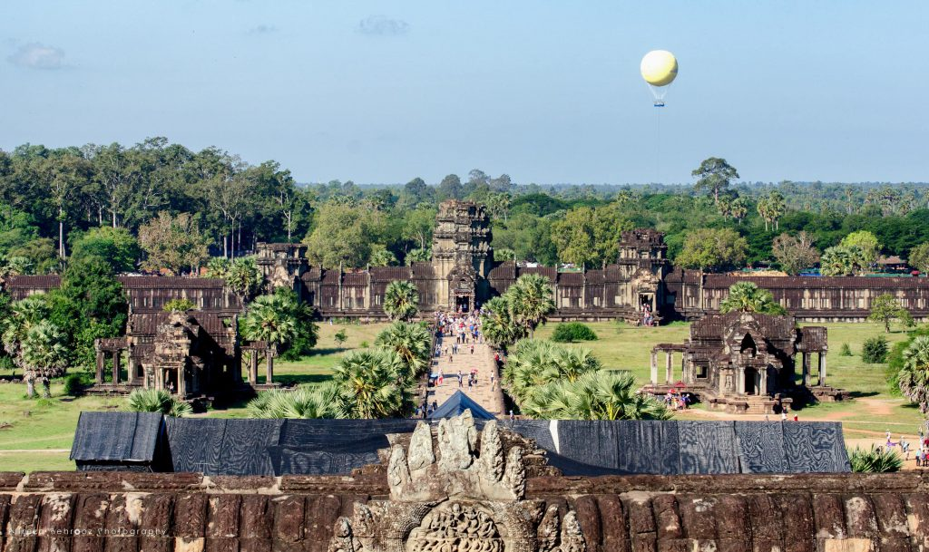 View of angkor wat entrance from main temple