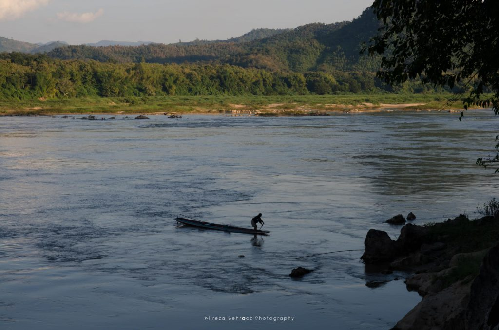 View of Mekong river from Pak Ou buddhist caves, Laos