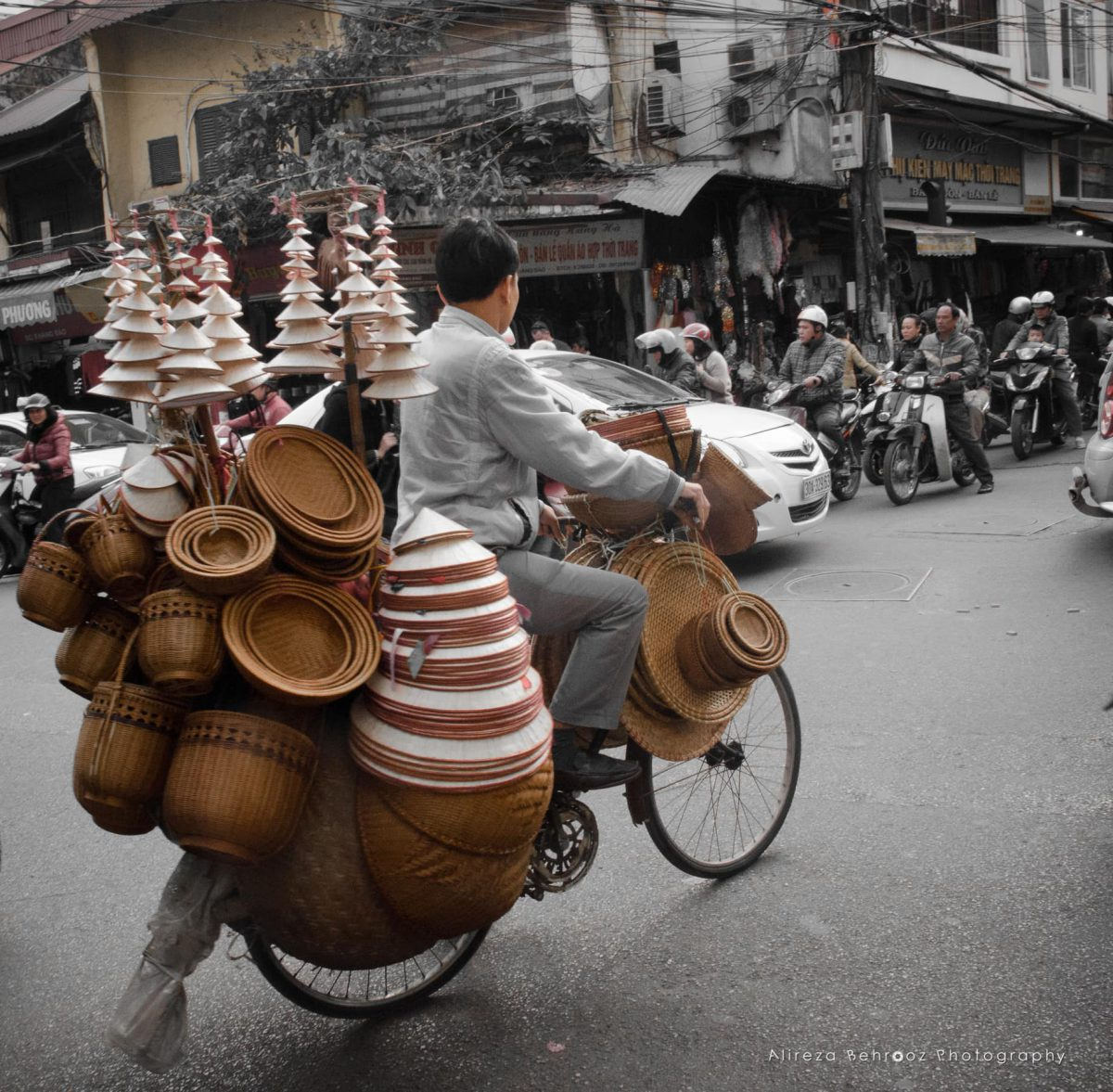Baskets&hats bike, Hanoi, Vietnam