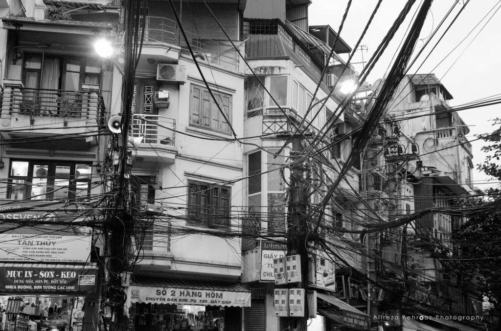 Electric poles, Hanoi, Vietnam