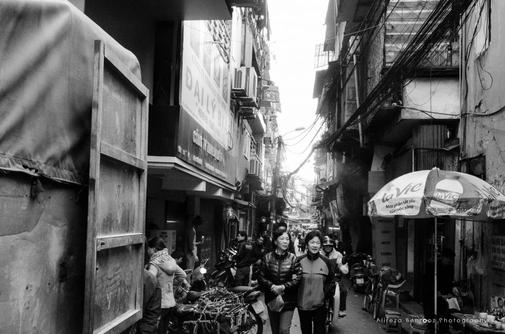 Narrow alley in downtown Hanoi