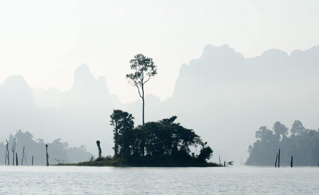 Small island in Cheow Lan lake