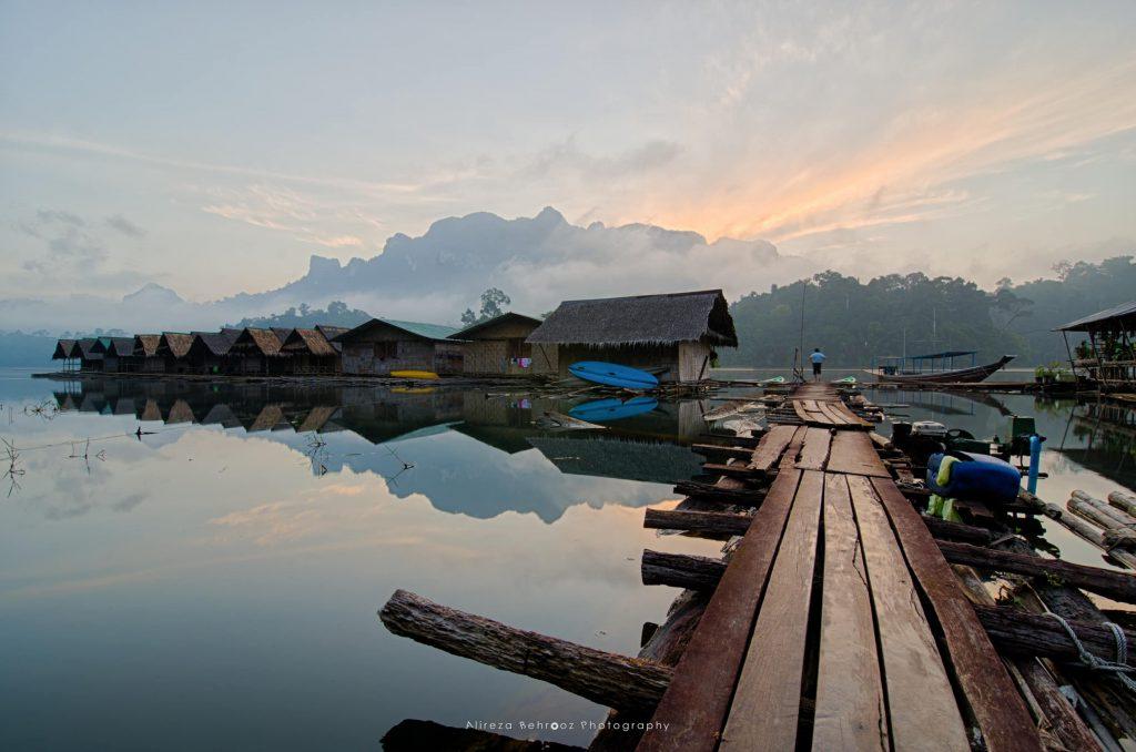 Tam Gia floating bungalows during sunrise, Thailand