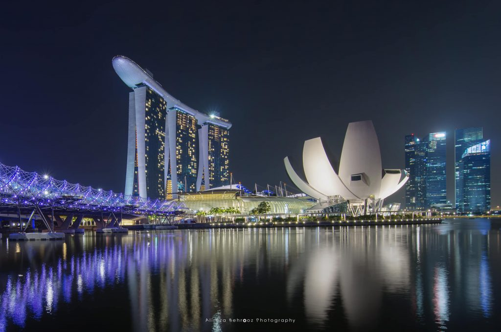 Helix Bridge & Marina Bay Sands, Singapore