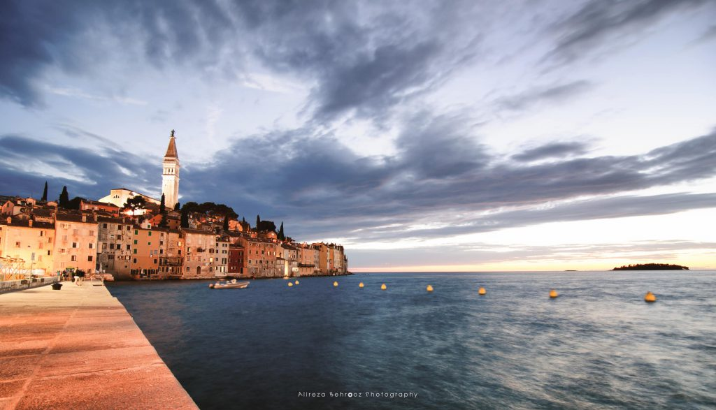 View of Rovinj just after sunset