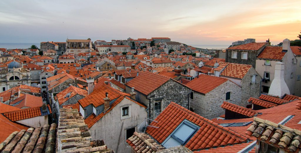 Dubrovnik at sunset from city walls, Croatia