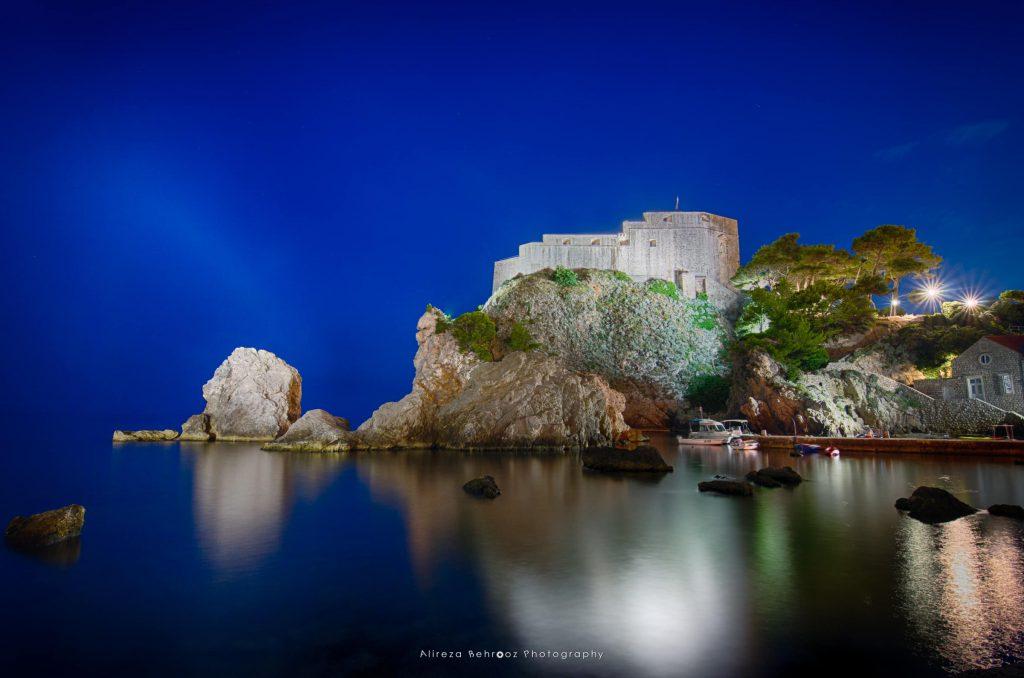 Fort Lovrijenac at night in Dubrovnik