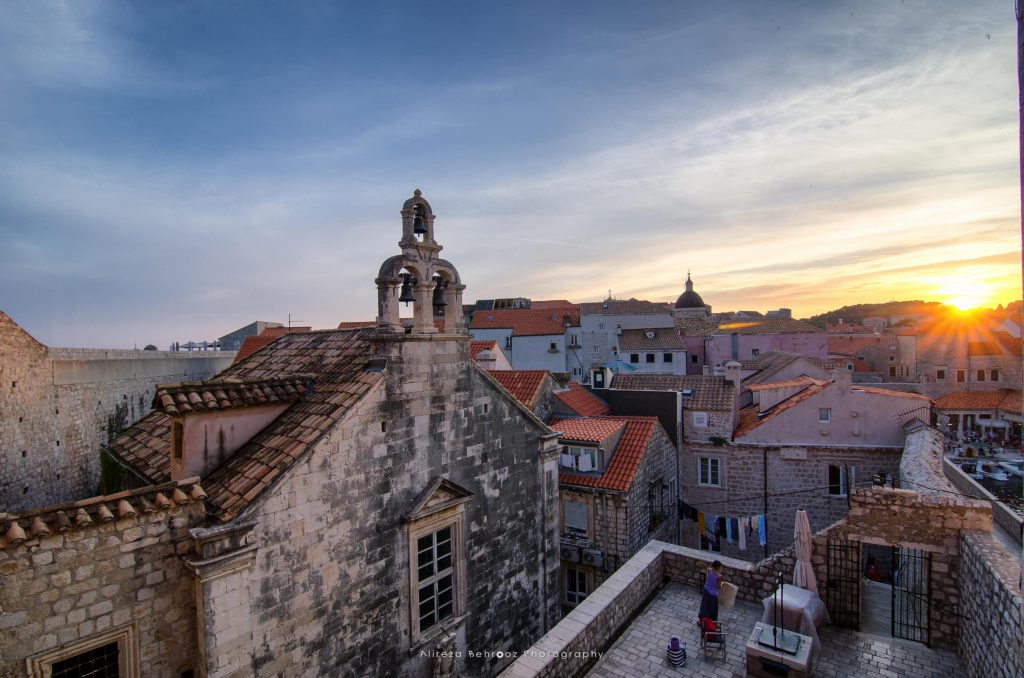 Sunset golden light over Old Town roofs of Dubrovnik old town, C