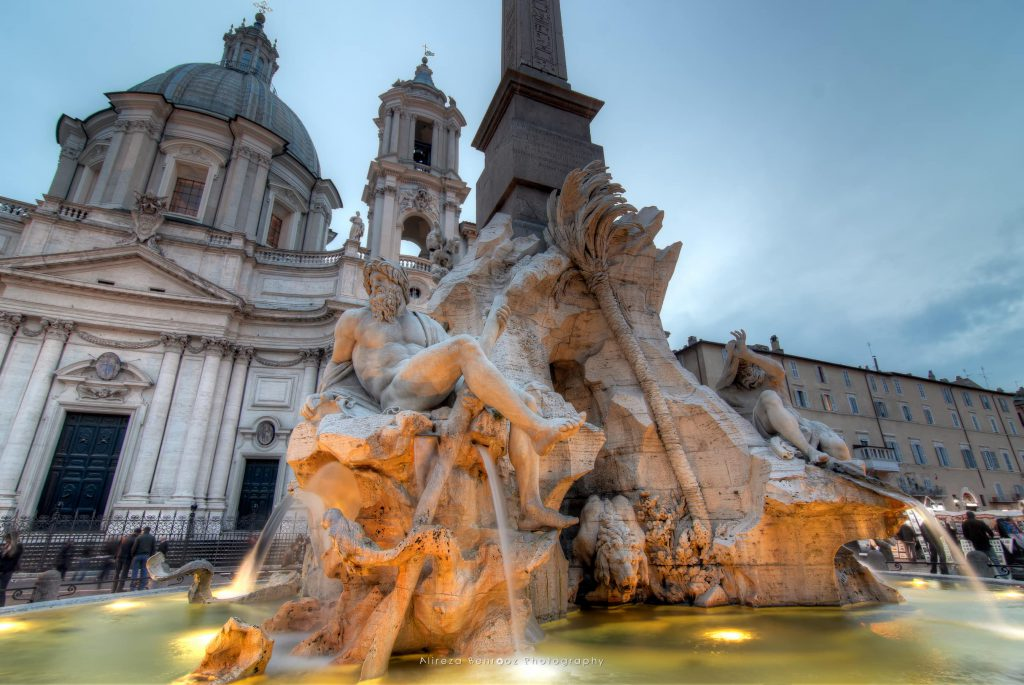 Piazza Navona, the fountain of four rivers designed by G.L.Bernini.Rome, Italy.