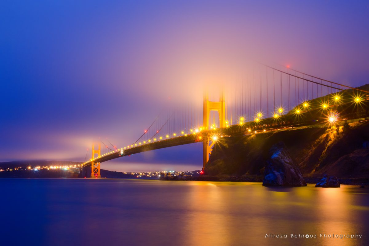 Golden Gate Bridge at dusk, San Francisco