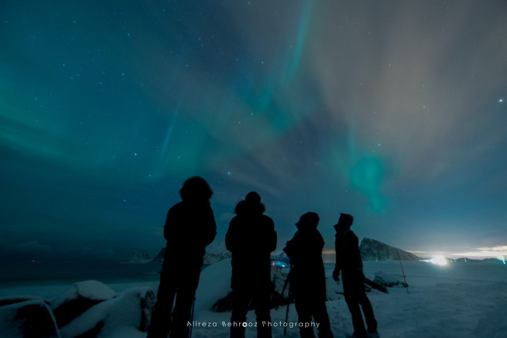 Enjoying the Northern lights with photography buddies, Lofoten