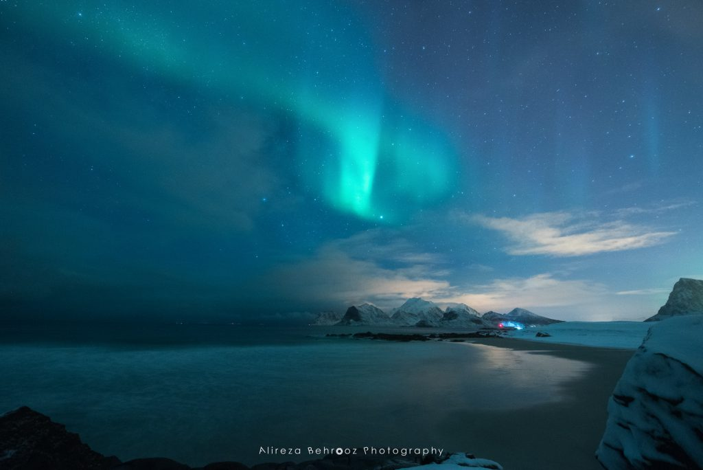 First signs of northern lights, Lofoten