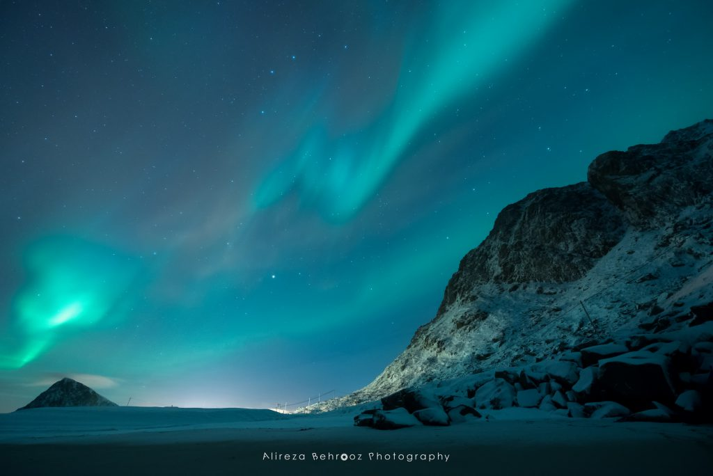 Nortern lights over mountains, Lofoten